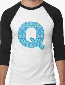 Letter Q Blue Aztec Stripes Pattern Boho Monogram Initial Men's Baseball ¾ T-Shirt