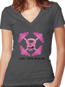 Kettle Bell Come train with me Women's Fitted V-Neck T-Shirt