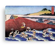 Ocean landscape with fishermen - Hokusai - Views of Mount Fuji Print Canvas Print