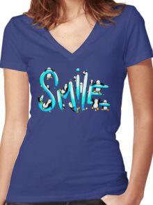 Smile Penguin Women's Fitted V-Neck T-Shirt
