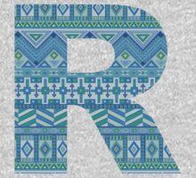 Letter R Blue Aztec Stripes Pattern Boho Monogram Initial One Piece - Long Sleeve