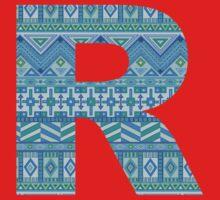 Letter R Blue Aztec Stripes Pattern Boho Monogram Initial One Piece - Short Sleeve