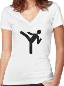 Martial arts kick symbol Women's Fitted V-Neck T-Shirt