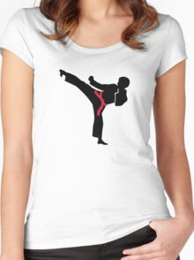 Martial arts Karate kick Women's Fitted Scoop T-Shirt
