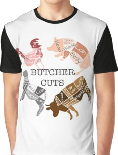 Butcher Diagrams - Labeled - Round Graphic T-Shirt