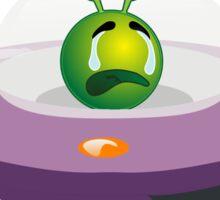 Green Crying Alien Emoji Emoticon Cartoon Spaceship Sticker
