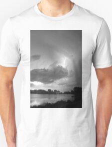 Lake Thunder Cell Lightning Burst BW Unisex T-Shirt