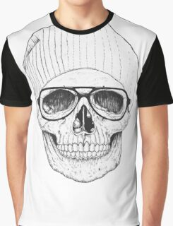 Hipster Old Skull Graphic T-Shirt