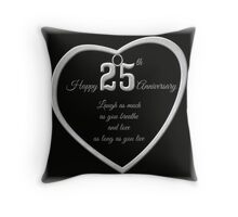 25th Silver Anniversary Pillow or Tote Bag Throw Pillow