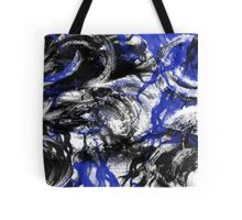 Blue Black White Swirls Tote Bag