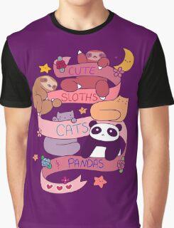 Cute Sloths Cats and Pandas Graphic T-Shirt