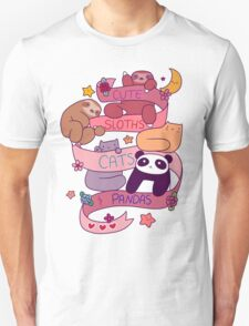 Cute Sloths Cats and Pandas Unisex T-Shirt