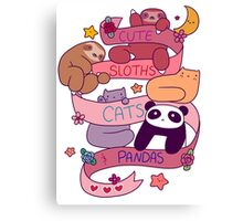 Cute Sloths Cats and Pandas Canvas Print