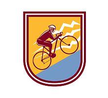 Cyclist Riding Mountain Bike Uphill Retro by patrimonio