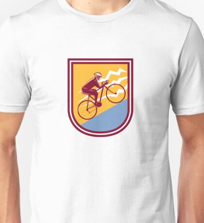 Cyclist Riding Mountain Bike Uphill Retro Unisex T-Shirt