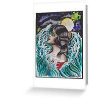 Original Watercolor Painting of Mermaid Woman in the Ocean Greeting Card