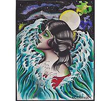 Original Watercolor Painting of Mermaid Woman in the Ocean Photographic Print