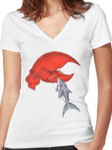 Great White Lobstah Lovah Women's Fitted V-Neck T-Shirt
