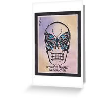 Original Watercolor Painting of Skull with Butterfly Greeting Card