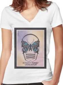 Original Watercolor Painting of Skull with Butterfly Women's Fitted V-Neck T-Shirt