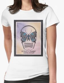 Original Watercolor Painting of Skull with Butterfly Womens Fitted T-Shirt