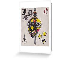 Original Watercolor Painting of Black Skull with Sword Greeting Card