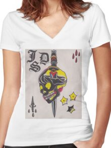 Original Watercolor Painting of Black Skull with Sword Women's Fitted V-Neck T-Shirt