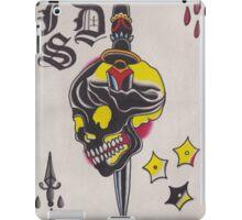 Original Watercolor Painting of Black Skull with Sword iPad Case/Skin