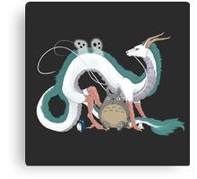 Haku, Totoro, and Tree Spirits  Canvas Print