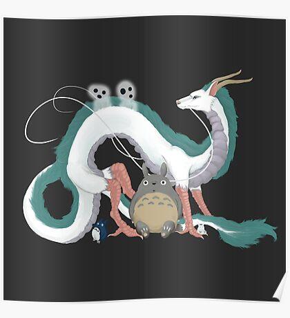 Haku, Totoro, and Tree Spirits  Poster