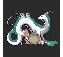 Haku, Totoro, and Tree Spirits  Photographic Print