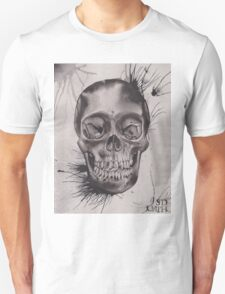 Original Watercolor Painting of Black and Grey Skull Unisex T-Shirt
