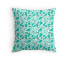 Tiffany Aqua Paisley Print in Aqua, Jade Green and Seafoam Throw Pillow