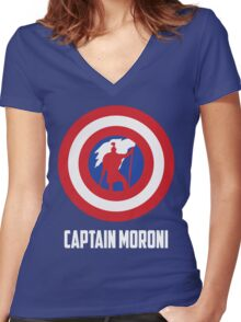 Mighty Captain Moroni T-Shirt Women's Fitted V-Neck T-Shirt