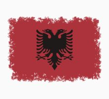 Albanian national flag in authentic color and scale. One Piece - Short Sleeve