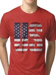 US - United States Flag Tri-blend T-Shirt