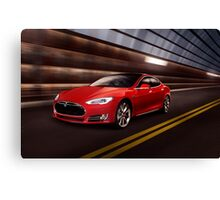 Red Tesla Model S red luxury electric car speeding in a tunnel art photo print Canvas Print