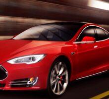 Red Tesla Model S red luxury electric car speeding in a tunnel art photo print Sticker