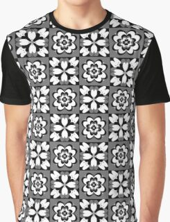 Flower Pattern (white, black, grey)  Graphic T-Shirt