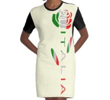 Italia Flag Rose Flower Graphic T-Shirt Dress