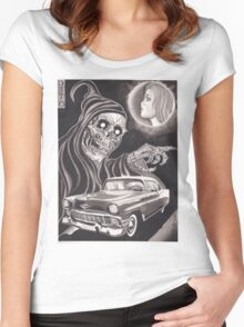 Original Watercolor Painting of Reaper with '56 Bel Air Women's Fitted Scoop T-Shirt