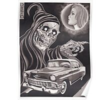 Original Watercolor Painting of Reaper with '56 Bel Air Poster
