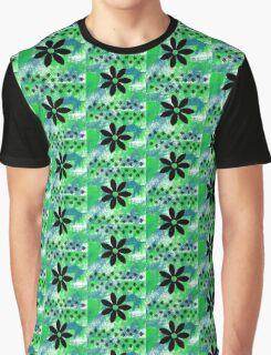 Blue Green Black Flowers Graphic T-Shirt