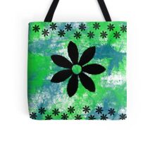Blue Green Black Flowers Tote Bag