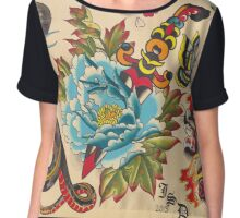 Original Watercolor Tattoo Flash Painting Chiffon Top