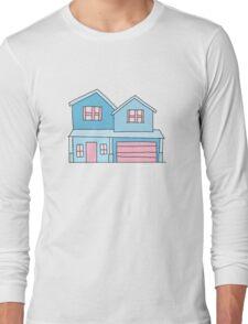 cute blue suburban house Long Sleeve T-Shirt