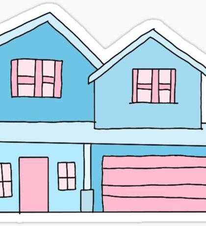 cute blue suburban house Sticker