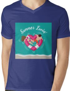 Summer lovin couple in heart shaped inner tube Mens V-Neck T-Shirt