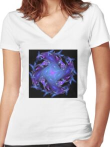Lavender Blue Women's Fitted V-Neck T-Shirt