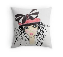 Fashion Hat Fancy Face Throw Pillow